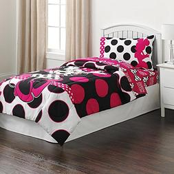 Minnie Mouse Black & Pink Polka Dots Twin Comforter & Sheet