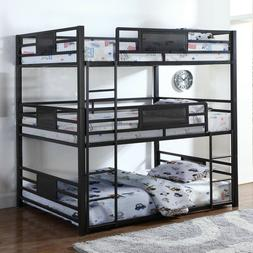 Modern 3 Tier Space Saver Metal Bunk Bed with Mattress Inclu