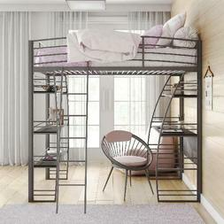 Modern Studio Gray Twin Loft Bunk Bed Frame with Under Bed D