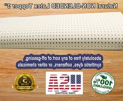 """Organic Textiles Natural NON-BLENDED Latex Topper 3""""  Twin """