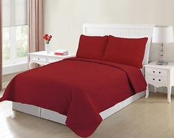 All American Collection New 3 Piece Solid Embroidered Bedspr