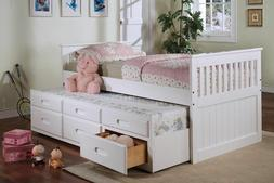 NEW ASHLYN WHITE or ESPRESSO WOOD TWIN CAPTAIN'S DAY BED w/