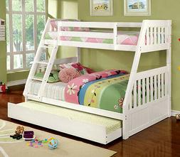 NEW KYLIE II WHITE FINISH WOOD TWIN OVER FULL BUNK BED WITH