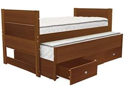 Bedz King All in One Twin Bed with Twin Trundle and 3 Built