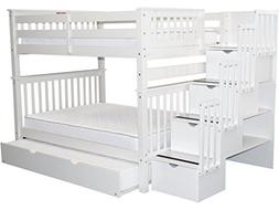 Full Over Full Bunk Bed with Twin Trundle, White