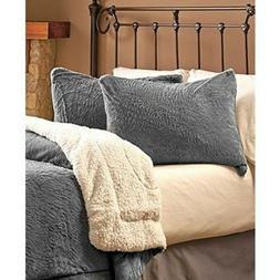 Plush Fuzzy Stone Gray Reversible Comforter & Shams Twin Bed