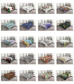 Ambesonne Printed Quilted Bed Cover Set Decorative Coverlet