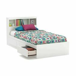 South Shore Reevo Mates Bed with Bookcase Headboard - Pure W