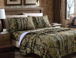 Chezmoi Collection Salem 4-Piece Printed Forest Woods Camo T