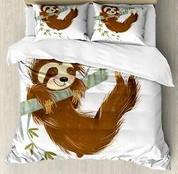 Sloth Duvet Cover Set with Pillow Shams Cheerful Animal on T