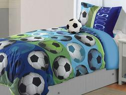 All American Collection Soccer Comforter Set with Furry Frie