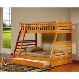 Sofia Twin Over Full Bunk Bed with trundle -Oak