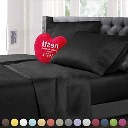 Twin Size Bed Sheets Set Black, Highest Quality Bedding Shee
