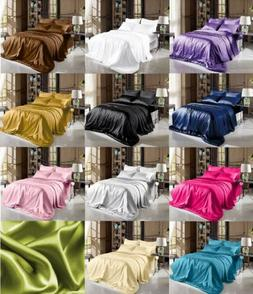 soft satin pillowcase fitted flat bed sheet