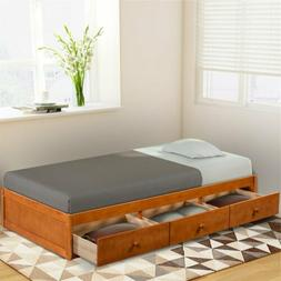 Solid Wood Twin Size Bed Frame with 3PCS Storage Drawer Dayb