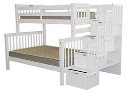 Bedz King Stairway Bunk Bed Twin over Full with 4 Drawers in