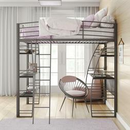 DHP Studio Twin Loft Bed with Integrated Desk and Shelves, M
