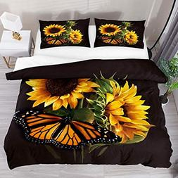 Josid Sunflower and Butterfly Duvet Cover Set, Bedding Sets