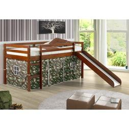 Tent Twin Slat Bed with Slide, Light Espresso, Camo