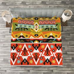 Tribal Quilted Bedspread & Pillow Shams Set, Love and Advent