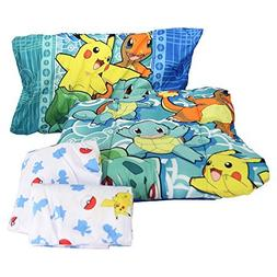 """Pokemon """"First Starters"""" 4 Piece Twin Bed in a Bag Bedding S"""