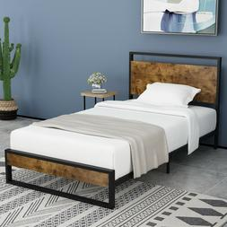 Twin Bed Frame with Wood Headboard, High Metal and Wood Plat