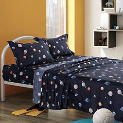 KFZ Solar System Planets Twin Bed Sheets Set for Boys and Gi