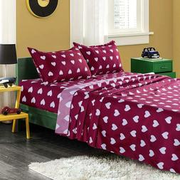twin bed sheets set red color love