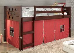 Twin Circles Low Loft Bed with Red Tent