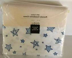 Eddie Bauer Home TWIN Comforter COVER White   Blue Stars 100