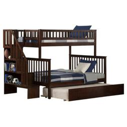 Twin Full Bunk Bed Stairs Bedroom Furniture Kids Children Ad