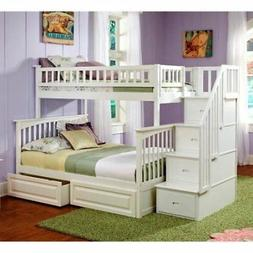 Twin Full Bunk Bed Stairs Bedroom Furniture Children Kids Ad