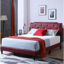 Twin Full Queen King Red Upholstered Bed Frame Button Tufted
