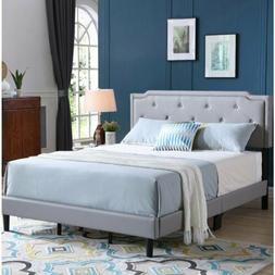 Twin Full Queen King Size Gray Grey Upholstered Bed Frame Bu