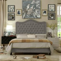 Twin Full Queen King Size Gray Grey Upholstered Platform Bed