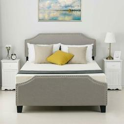 Twin Full Queen Platform Bed Frame Headboard Tufted Upholste