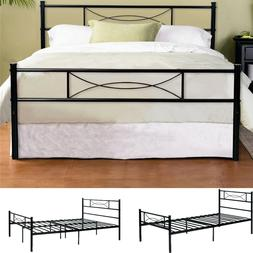 Twin Full Size Bedroom Metal Bed Frame Platform Mattress Fou