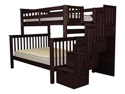 Twin Over Full Bunk Bed with Drawer, Cappuccino