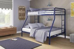 DHP Twin-Over-Full Bunk Bed with Metal Frame and Ladder, Spa