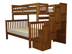Twin Over Full Bunk Bed with Drawer, Espresso