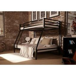 Twin Over Full Bunk Bed Black Frame Home Living Dorm Bedroom