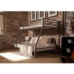 Twin Over Full Bunk Bed Silver Frame Home Living Dorm Bedroo