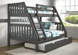 Twin Over Full Mission Bunk Bed with Twin Trundle in Dark Gr