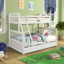 Twin over Full Size Solid wood Bunk Beds Ladder Kid Dorm Lof