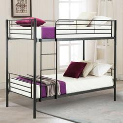 Twin over Twin Metal Bunk Beds Frame Ladder Bedroom Dorm for