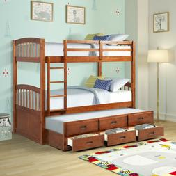 Twin over Twin Wood Bunk Bed with Trundle and Drawers