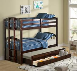 Twin Over Twin Wood Bunk Bed with Trundle for Kids with Draw