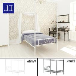 Twin Size Metal Canopy Bed Frame Mattress Foundation With He