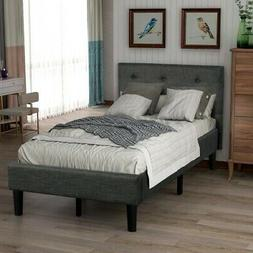Twin Size Platform Bed Frame w/Tufted Headboard Upholstered