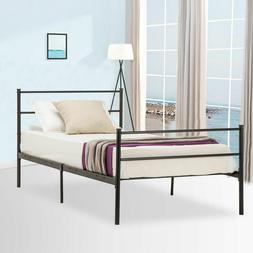 Twin Size Platform Metal Bed Frame Foundation Headboard Furn